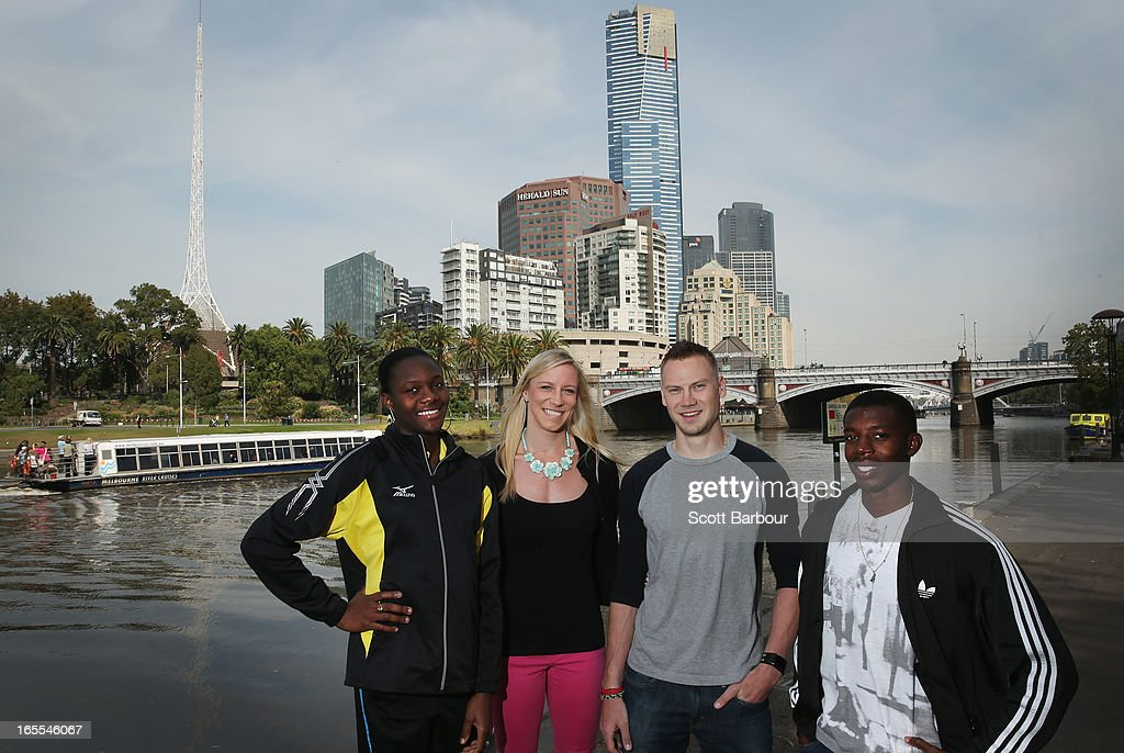 Allison Peter of the British Virgin Islands, Mary Saxer of the United States of America, Dusty Jonas of the United States of America and Calvin Smith of the United States of America pose during the John Landy Lunch on April 5, 2013 in Melbourne, Australia.