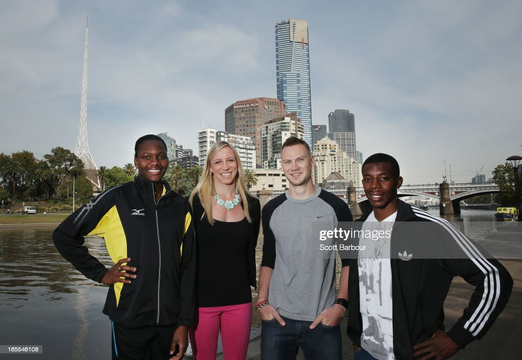 Allison Peter of the British Virgin Islands, Mary Saxer of the United States of America, Dusty Jonas of the United States of America and Calvin Smith of the United States of America pose during the John Landy Lunch on April 5, 2013 in Melbourne, Australia. The athletes will all compete in the Qantas Melbourne World Challenge.
