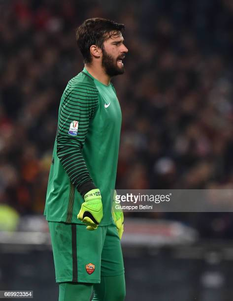 Allison Ramses Becker of AS Roma in action during the TIM Cup match between AS Roma and SS Lazio at Stadio Olimpico on April 4 2017 in Rome Italy