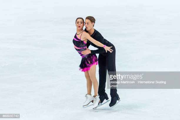 Allison Reed and Saulius Ambrulevicius of Lithuania compete in the Ice Dance Short Dance during the Nebelhorn Trophy 2017 at Eissportzentrum on...