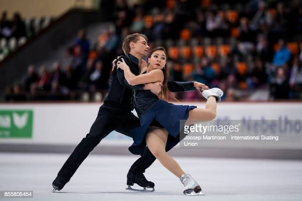Allison Reed and Saulius Ambrulevicius of Lithuania compete in the Ice Dance Free Dance during the Nebelhorn Trophy 2017 at Eissportzentrum on...
