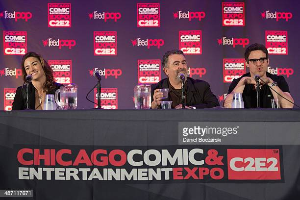 Allison Scagliotti Saul Rubinek and Eddie McClintock attend the 2014 Chicago Comic and Entertainment Expo at McCormick Place on April 27 2014 in...