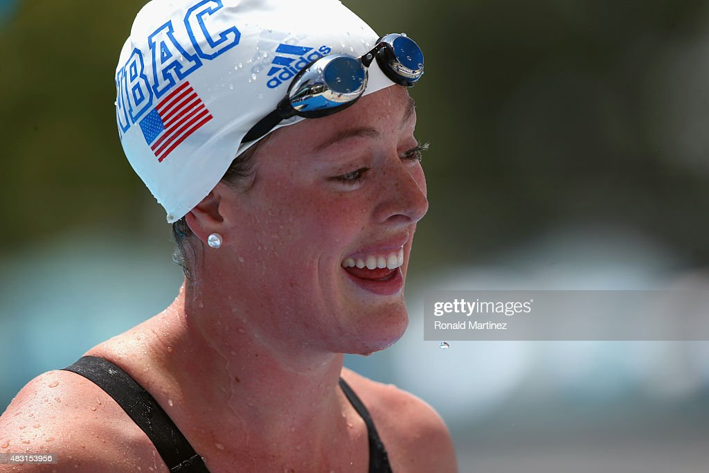 <a gi-track='captionPersonalityLinkClicked' href=/galleries/search?phrase=Allison+Schmitt+-+Swimmer&family=editorial&specificpeople=4443033 ng-click='$event.stopPropagation()'>Allison Schmitt</a> after competing in the Women's 400 LC Meter Freestyle Prelims during the 2015 Phillips 66 National Championships at the Northside Swim Center on August 6, 2015 in San Antonio, Texas.