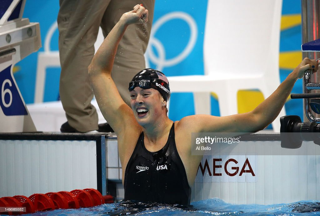 <a gi-track='captionPersonalityLinkClicked' href=/galleries/search?phrase=Allison+Schmitt&family=editorial&specificpeople=4443033 ng-click='$event.stopPropagation()'>Allison Schmitt</a> of the United States celebrates after winning gold in the Women's 200m Freestyle final on Day 4 of the London 2012 Olympic Games at the Aquatics Centre on July 31, 2012 in London, England.