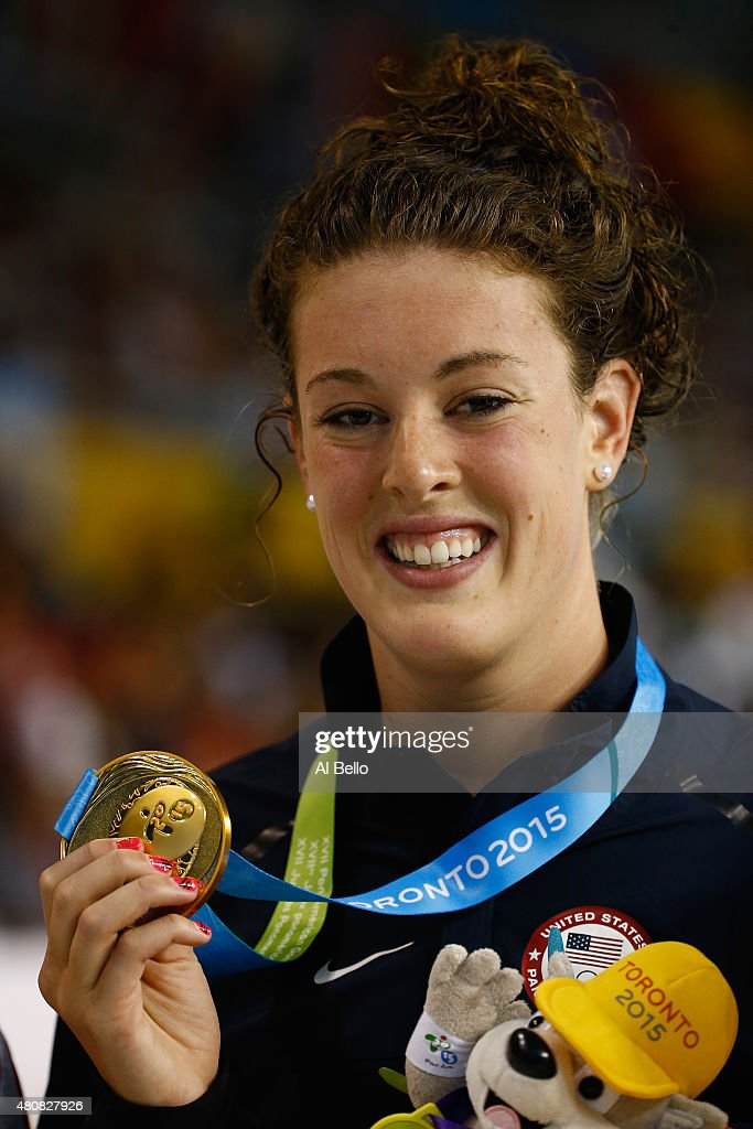 <a gi-track='captionPersonalityLinkClicked' href=/galleries/search?phrase=Allison+Schmitt+-+Swimmer&family=editorial&specificpeople=4443033 ng-click='$event.stopPropagation()'>Allison Schmitt</a> of the USA holds the Gold Medal after winning the Women's 200m Freestyle finals at the Pan Am Games on July 15, 2015 in Toronto, Canada.