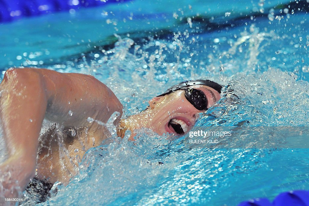 Allison Schmitt of US competes during the women`s 200m freestyle final during the Short Course Swimming World Championships in Istanbul on December 16, 2012.