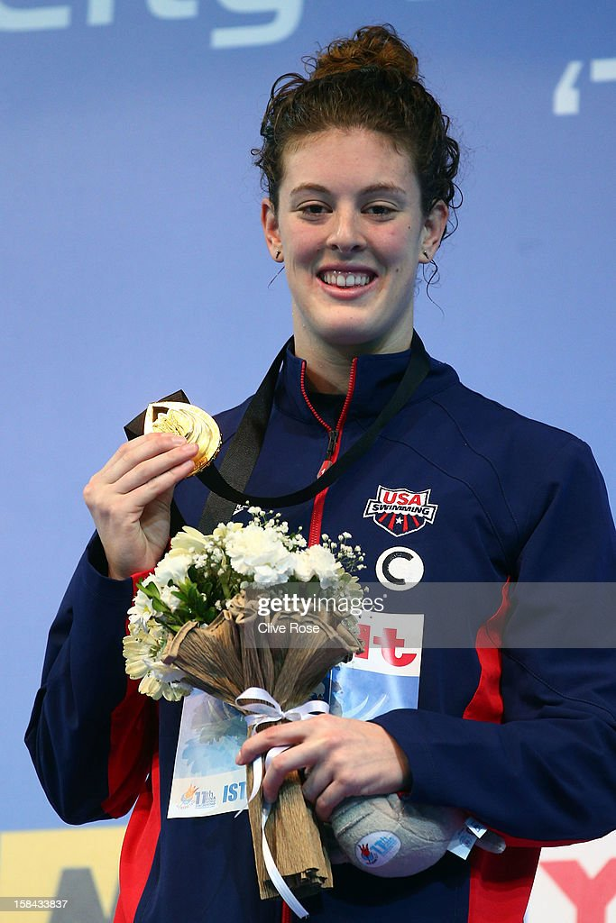 Allison Schmitt of USA poses with her Gold medal on the podium after winning the Women's 200m Freestyle Final during day five of the 11th FINA Short Course World Championships at the Sinan Erdem Dome on December 16, 2012 in Istanbul, Turkey.