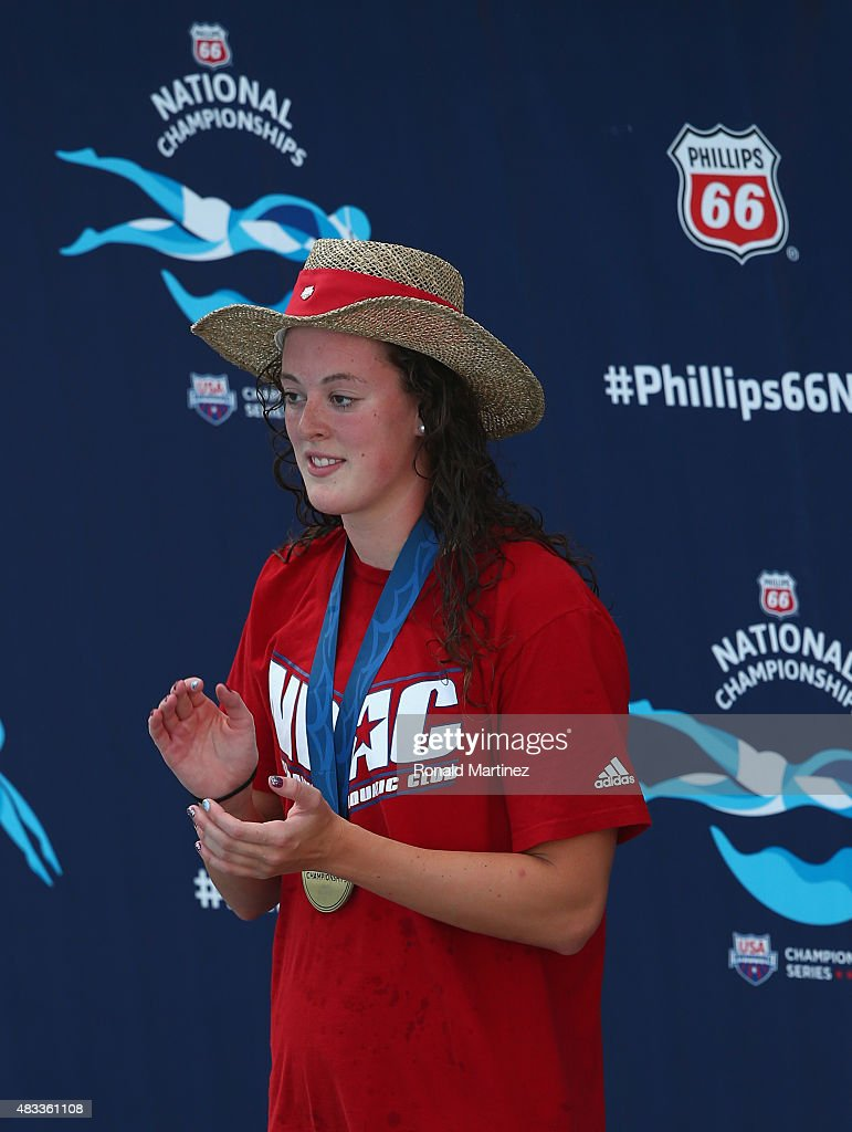 <a gi-track='captionPersonalityLinkClicked' href=/galleries/search?phrase=Allison+Schmitt+-+Swimmer&family=editorial&specificpeople=4443033 ng-click='$event.stopPropagation()'>Allison Schmitt</a> on the awards stand for the Women's 200 LC Meter Freestyle final during the 2015 Phillips 66 National Championships at the Northside Swim Center on August 7, 2015 in San Antonio, Texas.