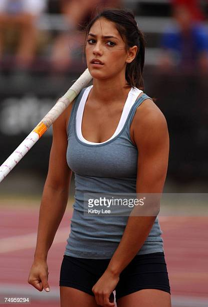 Allison Stokke competes in the junior women's pole vault in the USA Track Field Championships at Carroll Stadium in Indianapolis Ind on Thursday June...