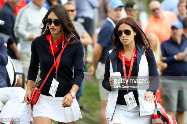 Allison Stokke girlfriend of Rickie Fowler of the US Team and Jillian Wisniewski girlfriend of Justin Thomas of the US Team during Friday fourball...