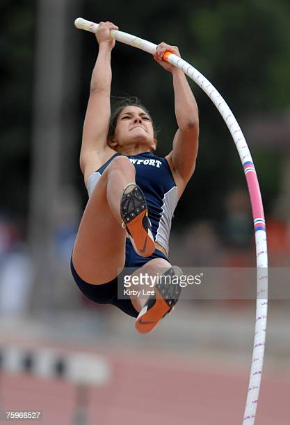 Allison Stokke of Newport Harbor was second in the girls' invitational pole vault at 131 1/2 in the 49th Mt San Antonio College Relays at Hilmer...