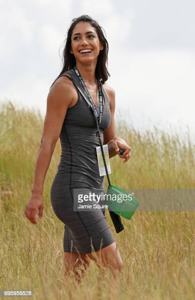Allison Stokke walks through the course during a practice round prior to the 2017 US Open at Erin Hills on June 14 2017 in Hartford Wisconsin