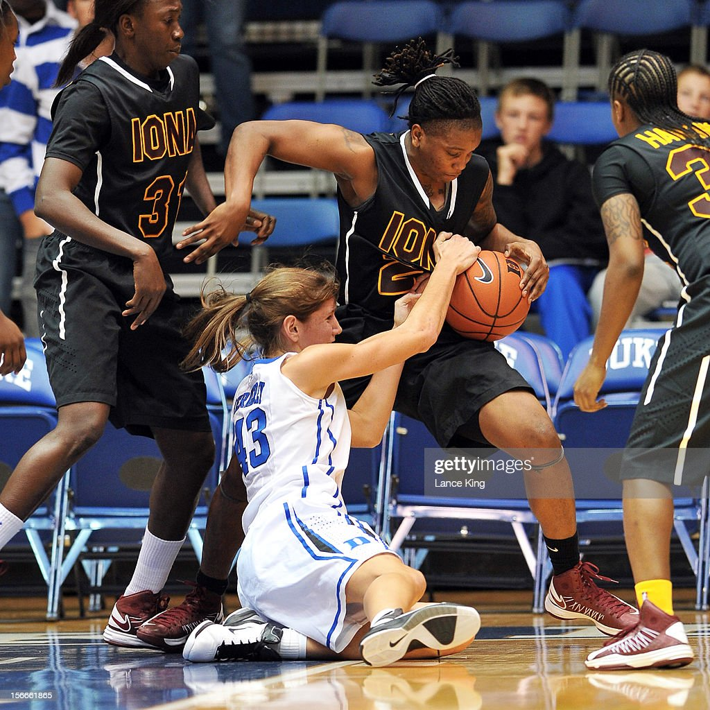Allison Vernerey #43 of the Duke Blue Devils and Joy Adams #24 of the Iona Gaels fight for a loose ball at Cameron Indoor Stadium on November 18, 2012 in Durham, North Carolina. Duke defeated Iona 100-31.