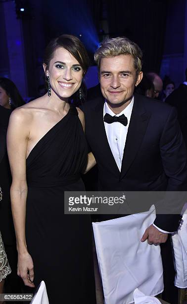 Allison Williams and Orlando Bloom attend the 12th annual UNICEF Snowflake Ball at Cipriani Wall Street on November 29 2016 in New York City