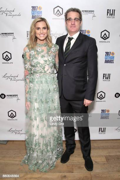 Allison Williams and Paul Simms pose backstage during IFP's 27th Annual Gotham Independent Film Awards on November 27 2017 in New York City