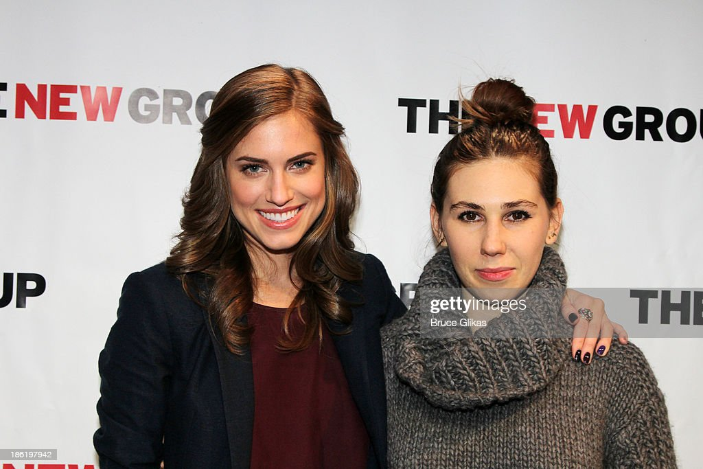 <a gi-track='captionPersonalityLinkClicked' href=/galleries/search?phrase=Allison+Williams+-+Actress&family=editorial&specificpeople=594198 ng-click='$event.stopPropagation()'>Allison Williams</a> and <a gi-track='captionPersonalityLinkClicked' href=/galleries/search?phrase=Zosia+Mamet&family=editorial&specificpeople=7439328 ng-click='$event.stopPropagation()'>Zosia Mamet</a> (costars on 'Girls') pose at The New Group benefit reading of 'Crimes of The Heart' at The Acorn Theater on October 28, 2013 in New York City.