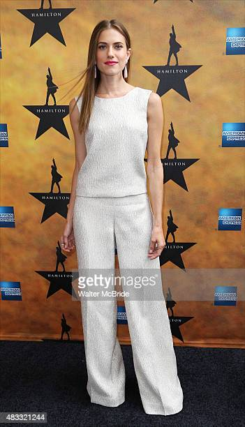 Allison Williams attends the Broadway Opening Night Performance of 'Hamilton' at the Richard Rodgers Theatre on August 6 2015 in New York City