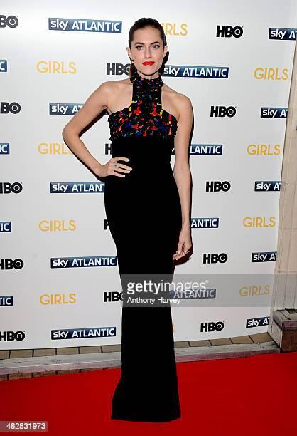 Allison Williams attends the UK premiere of 'Girls Season 3' at Cineworld Haymarket on January 15 2014 in London England