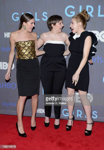 Allison Williams Lena Dunham and Zosia Mamet attend the premiere of 'Girls' season 2 hosted by HBO at NYU Skirball Center on January 9 2013 in New...