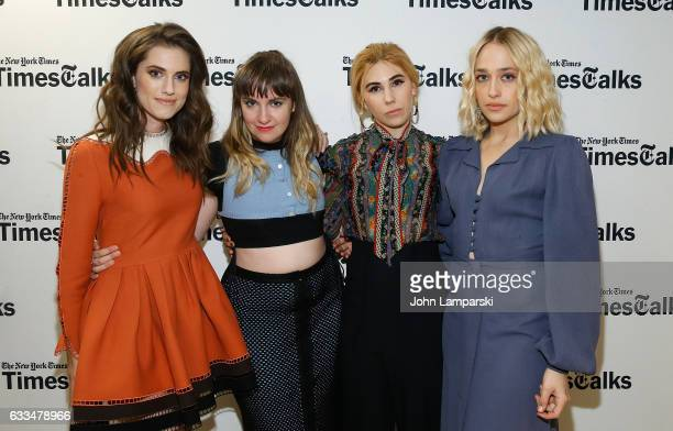 Allison Williams Lena Dunham Zosia Mamet and Jemima Kirke attend TimesTalks A Final Farewell to the cast of HBO's 'Girls' at NYU Skirball Center on...