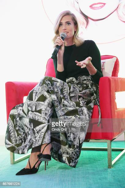 Allison Williams speaks onstage as Brit Co Kicks Off Experiential PopUp #CreateGood with Allison Williams and Daphne Oz at Brit Co on October 4 2017...