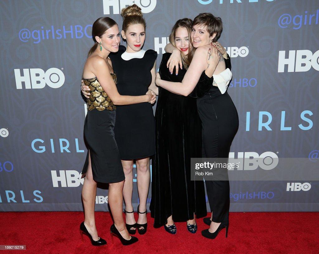 Allison Williams Zosia Mamet Jemima Kirke and Lena Dunham attend the HBO 'Girls' Season 2 premiere at the NYU Skirball Center on January 9 2013 in...