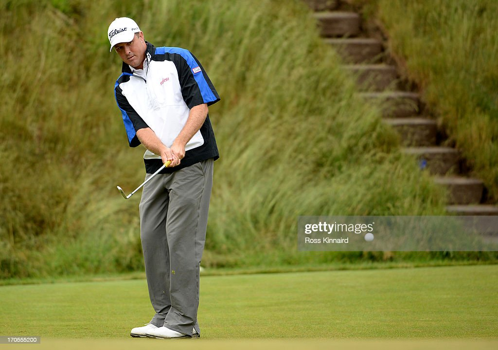 Allistair Presnell of Australia putts on the 17th green during a continuation of Round One of the 113th U.S. Open at Merion Golf Club on June 14, 2013 in Ardmore, Pennsylvania.