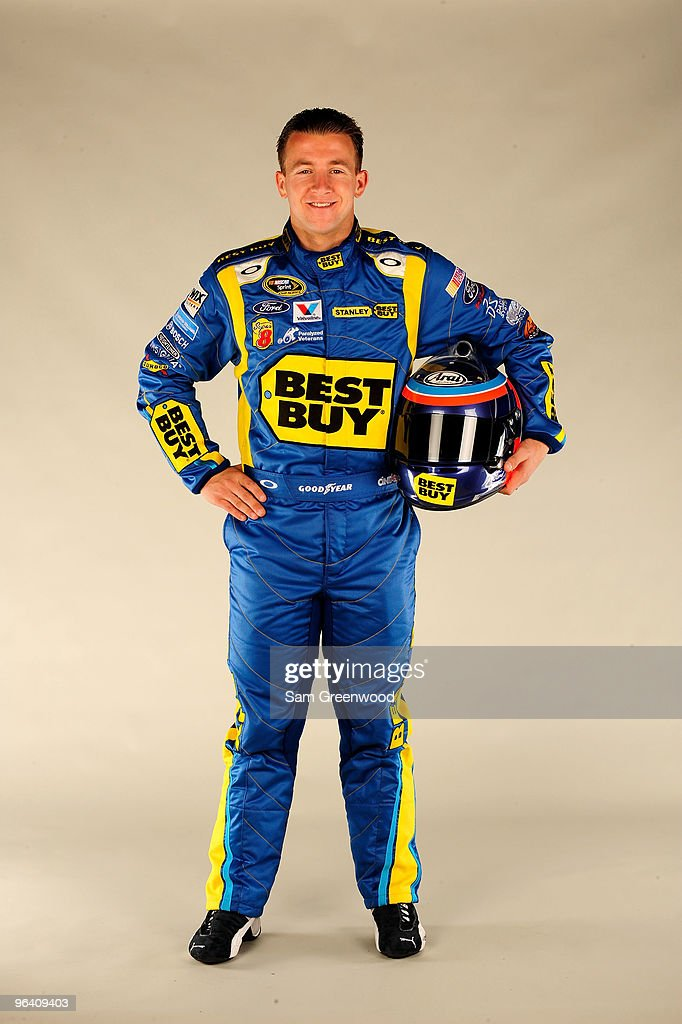 AJ Allmendinger, driver of the #43 Best Buy Ford, poses during NASCAR media day at Daytona International Speedway on February 4, 2010 in Daytona Beach, Florida.