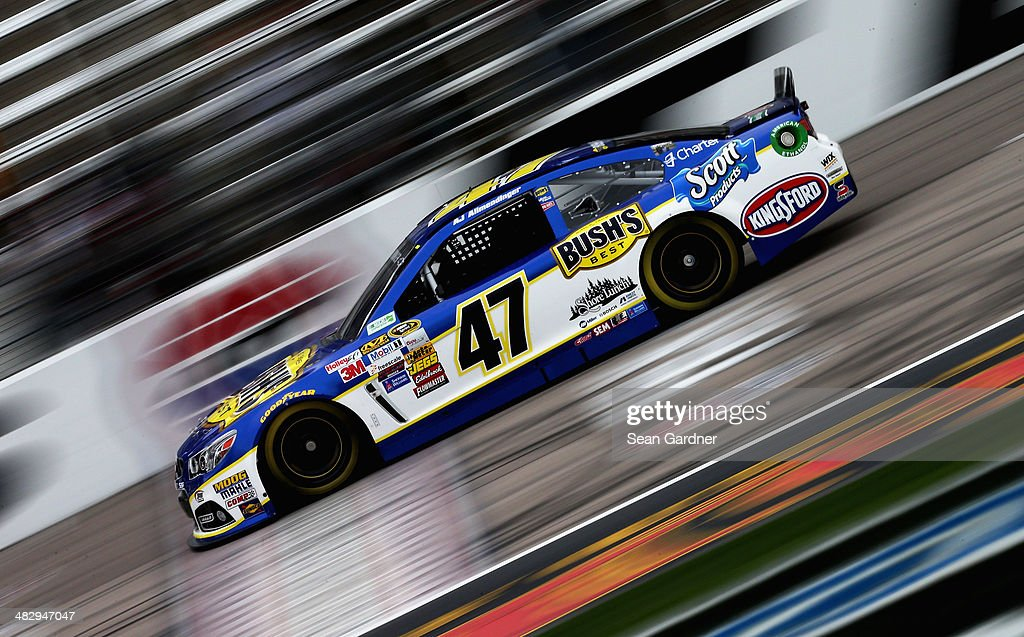 AJ Allmendinger, driver of the #47 Bush's Baked Beans Chevrolet, qualifies for the NASCAR Sprint Cup Series Duck Commander 500 at Texas Motor Speedway on April 5, 2014 in Fort Worth, Texas.