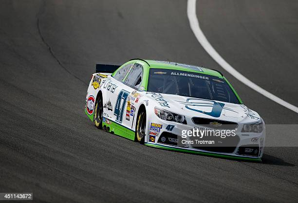 AJ Allmendinger driver of the Charter Chevrolet drives during practice for the NASCAR Sprint Cup Series Auto Club 400 at Auto Club Speedway on March...