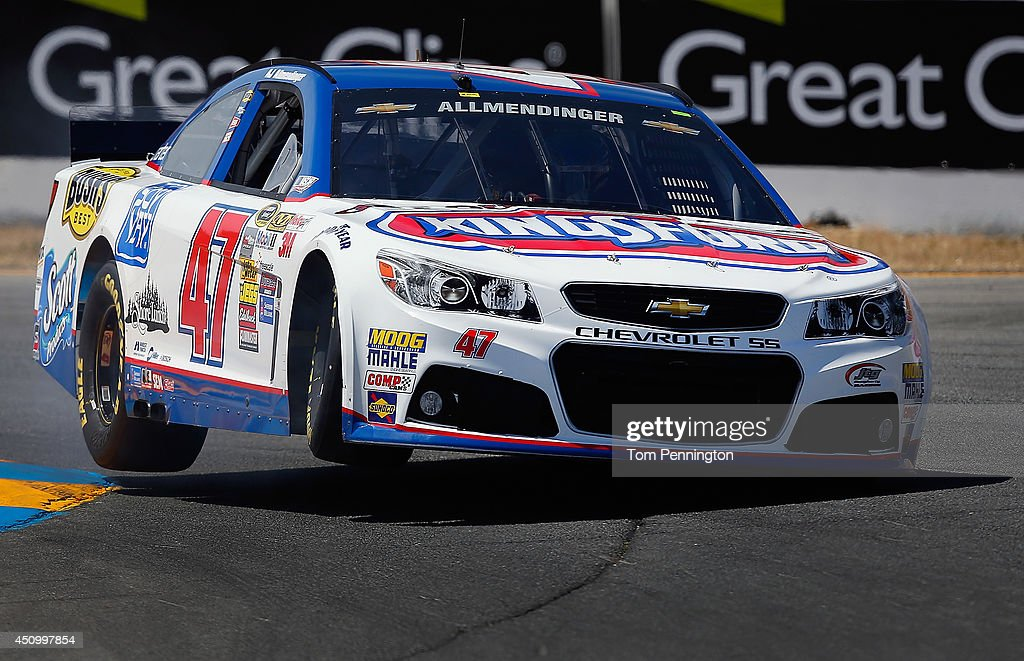 AJ Allmendinger, driver of the #47 Clorox/Kingsford Chevrolet, drives during qualifying for the NASCAR Sprint Cup Series Toyota/Save Mart 350 at Sonoma Raceway on June 21, 2014 in Sonoma, California.
