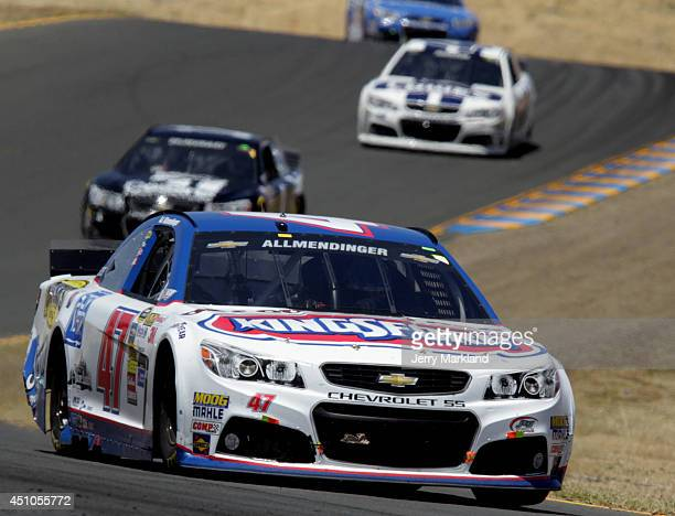 Allmendinger driver of the Clorox/Kingsford Chevrolet leads a pack of cars during the NASCAR Sprint Cup Series Toyota/Save Mart 350 at Sonoma Raceway...