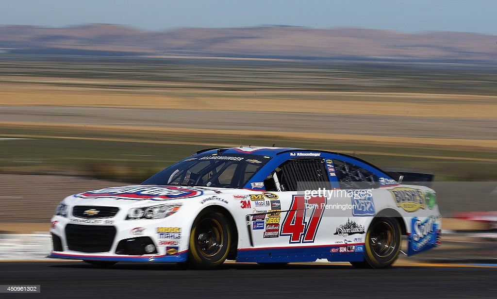 AJ Allmendinger, driver of the #47 Clorox/Kingsford Chevrolet, practices for the NASCAR Sprint Cup Series Toyota/Save Mart 350 at Sonoma Raceway on June 20, 2014 in Sonoma, California.