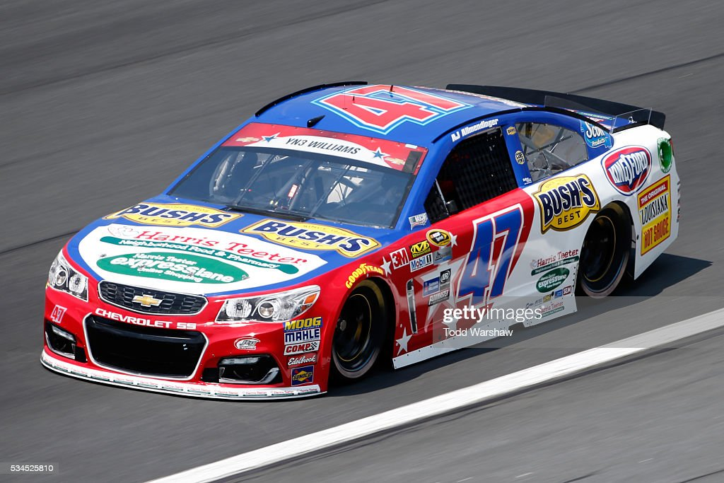 AJ Allmendinger, driver of the #47 Harris Teeter/Bush's Beans Chevrolet, practices for the NASCAR Sprint Cup Series Coca-Cola 600 at Charlotte Motor Speedway on May 27, 2016 in Charlotte, North Carolina.