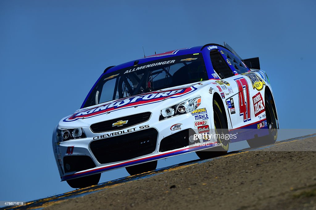 Allmendinger driver of the Kingsford Charcoal Chevrolet practices for the NASCAR Sprint Cup Series Toyota/Save Mart 350 at Sonoma Raceway on June 26...