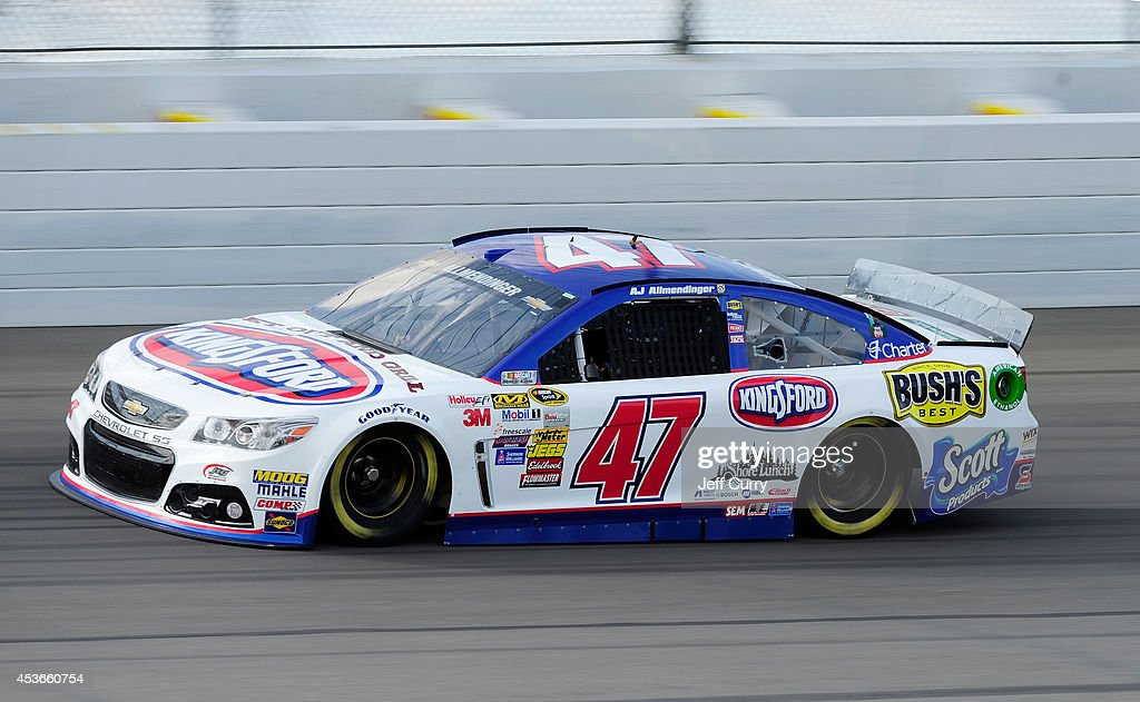 AJ Allmendinger, driver of the #47 Kingsford Charcoal Chevrolet, qualifies for the NASCAR Sprint Cup Series Pure Michigan 400 at Michigan International Speedway on August 15, 2014 in Brooklyn, Michigan.