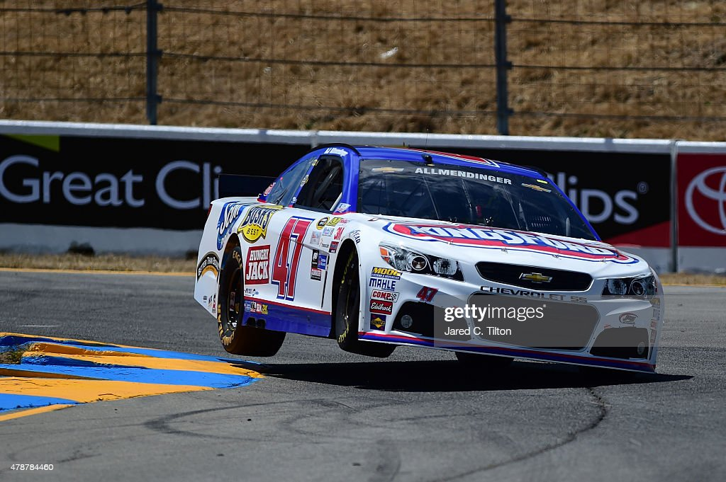 AJ Allmendinger, driver of the #47 Kingsford Charcoal Chevrolet, qualifies for the NASCAR Sprint Cup Series Toyota/Save Mart 350 at Sonoma Raceway on June 27, 2015 in Sonoma, California.