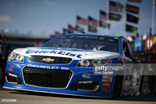 Allmendinger driver of the Kroger ClickList Chevrolet drives through the garage area during practice for the Monster Energy NASCAR Cup Series AAA...