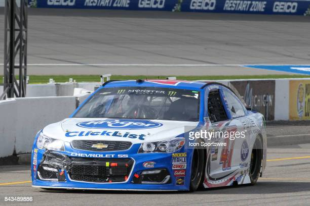 Allmendinger driver of the Kroger ClickList Chevrolet enters pit road during the Monster Energy NASCAR Cup Series Pure Michigan 400 race on August 13...