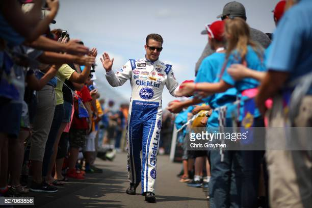Allmendinger driver of the Kroger ClickList Chevrolet is introduced prior to the Monster Energy NASCAR Cup Series I Love NY 355 at The Glen at...