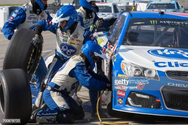 Allmendinger driver of the Kroger ClickList Chevrolet makes a pit stop during the Monster Energy Cup Series Firekeepers Casino 400 race on June 18...