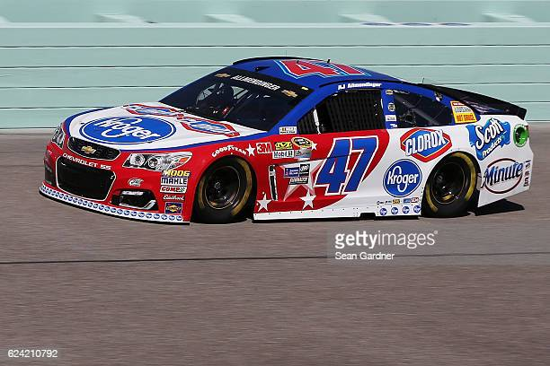 Allmendinger driver of the Kroger/Clorox Chevrolet practices for the NASCAR Sprint Cup Series Ford EcoBoost 400 at HomesteadMiami Speedway on...