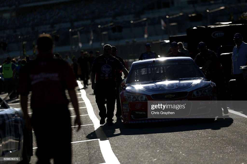 AJ Allmendinger, driver of the #47 Kroger/Stouffer's/Lean Cuisine Chevrolet, drives through the garage area during practice for the NASCAR Sprint Cup Series Sprint Unlimited at Daytona International Speedway on February 12, 2016 in Daytona Beach, Florida.
