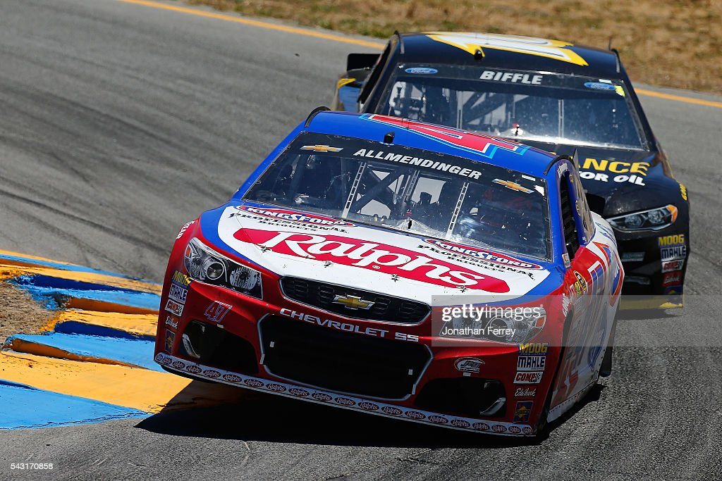 AJ Allmendinger, driver of the #47 Ralph's/Kingsford Chevrolet, leads <a gi-track='captionPersonalityLinkClicked' href=/galleries/search?phrase=Greg+Biffle&family=editorial&specificpeople=209093 ng-click='$event.stopPropagation()'>Greg Biffle</a>, driver of the #16 Performance Plus Motor Oil Ford, during the NASCAR Sprint Cup Series Toyota/Save Mart 350 at Sonoma Raceway on June 26, 2016 in Sonoma, California.
