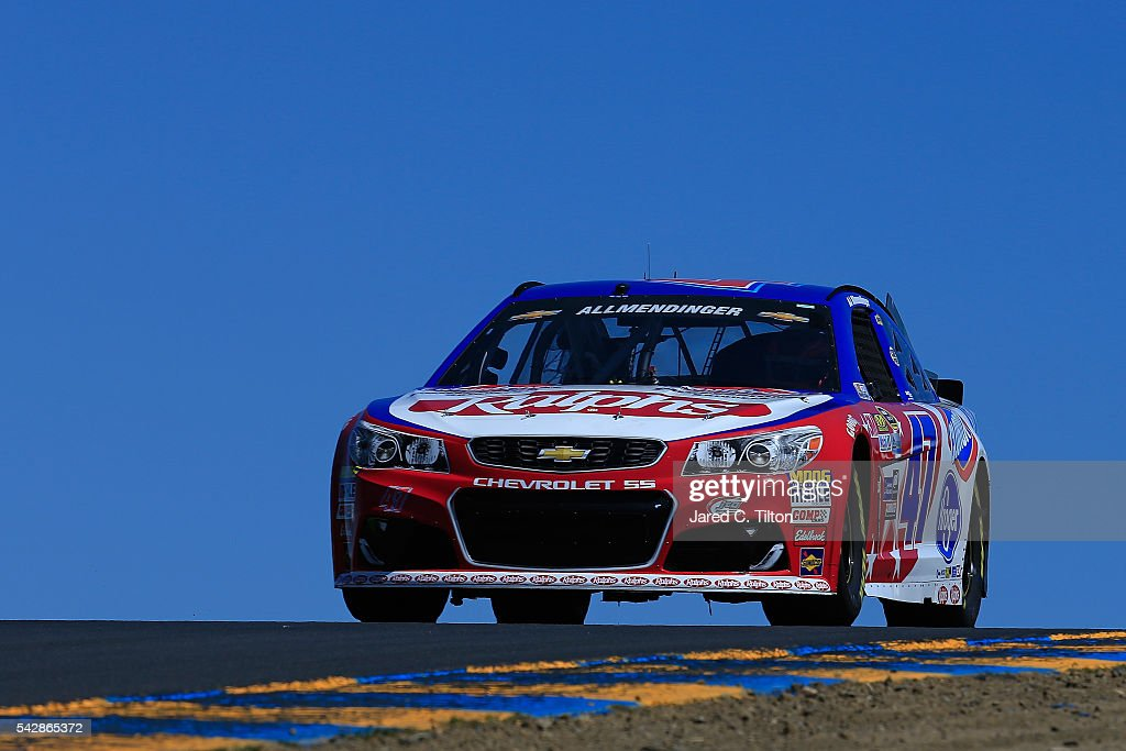 AJ Allmendinger, driver of the #47 Ralph's/Kingsford Chevrolet, practices for the NASCAR Sprint Cup Series Toyota/Save Mart 350 at Sonoma Raceway on June 24, 2016 in Sonoma, California.