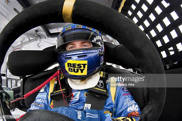 A J Allmendinger gets ready to practice for the running of The Auto Club 500 at Auto Club Speedway in Fontana CA