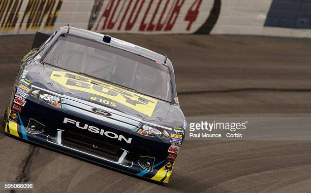 AJ Allmendinger in the Best Buy Ford during practice for the NASCAR Sprint Cup Series Auto Club 400