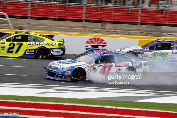 Allmendinger JTG Daugherty Racing Kroger ClickList Chevrolet SS crashes during the running of the Bank of America 500 on October 8 at Charlotte Motor...