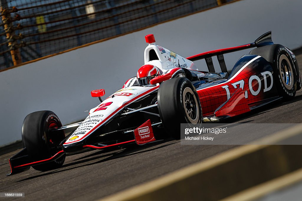 AJ Allmendinger of the #2 Chevrolet for Penske Racing drives during Indianapolis 500 practice at the Indianapolis Motor Speedway on May 12, 2013 in Indianapolis, Indiana.