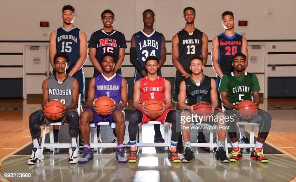 AllMet Boy's Basketball Team back row left to right Charlie Thomas IV River Hill Christian Matthews National Christian Abdulai Bundu Largo VJ King...